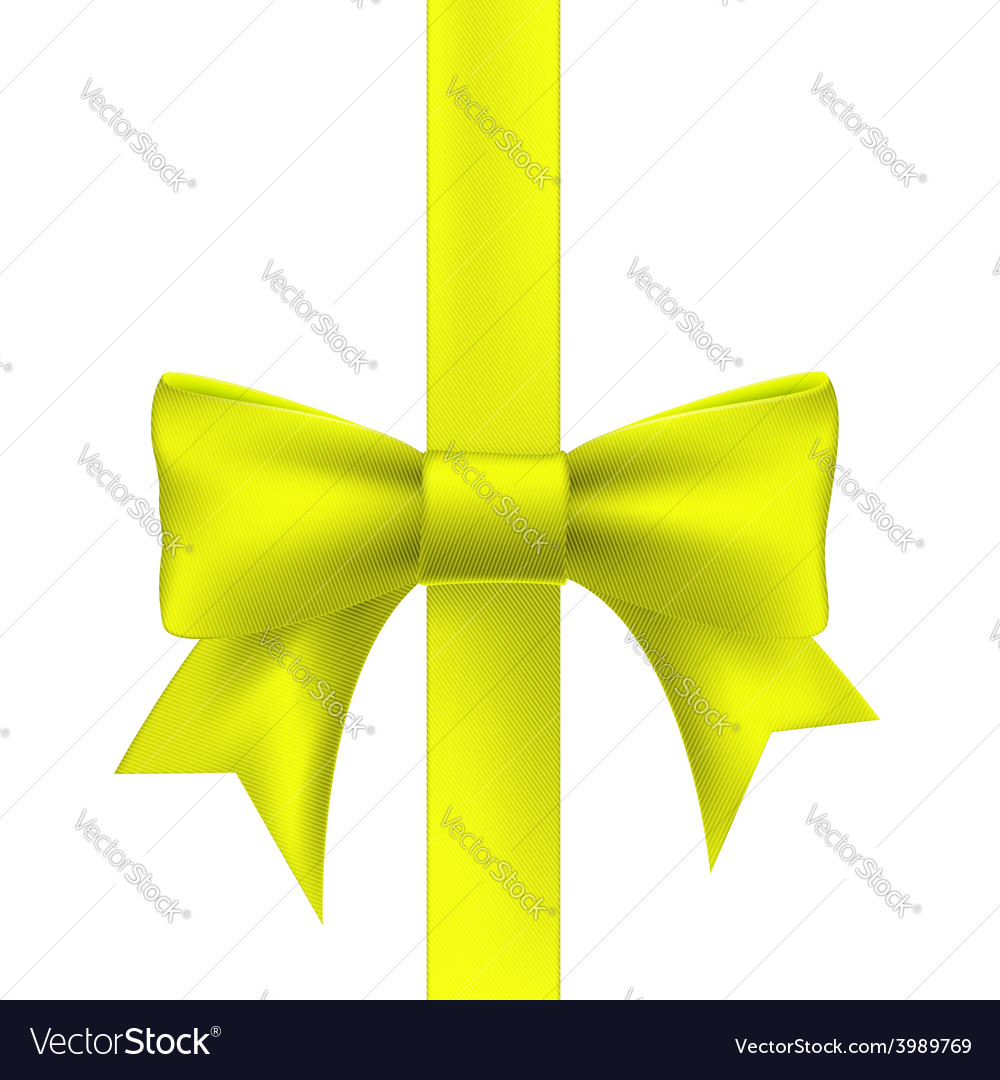 Yellow ribbon with a bow vector | Price: 1 Credit (USD $1)