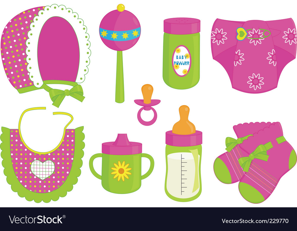 Baby girl accessories vector | Price: 1 Credit (USD $1)