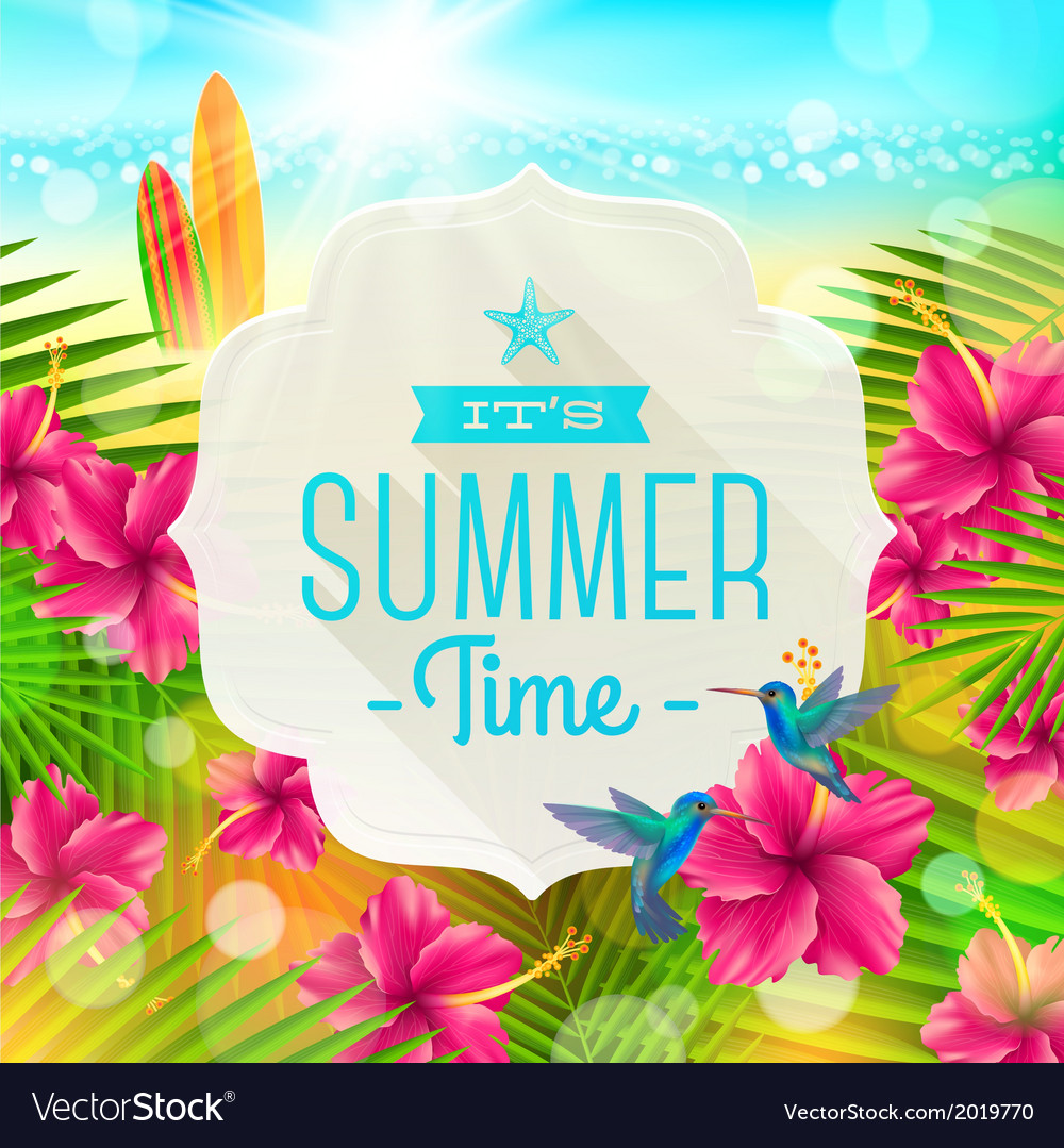 Banner with summer greeting vector | Price: 1 Credit (USD $1)