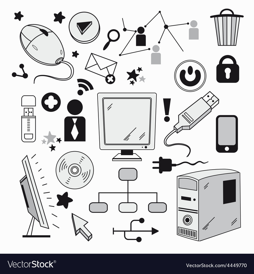 Elements of computer hardware and networks vector | Price: 1 Credit (USD $1)