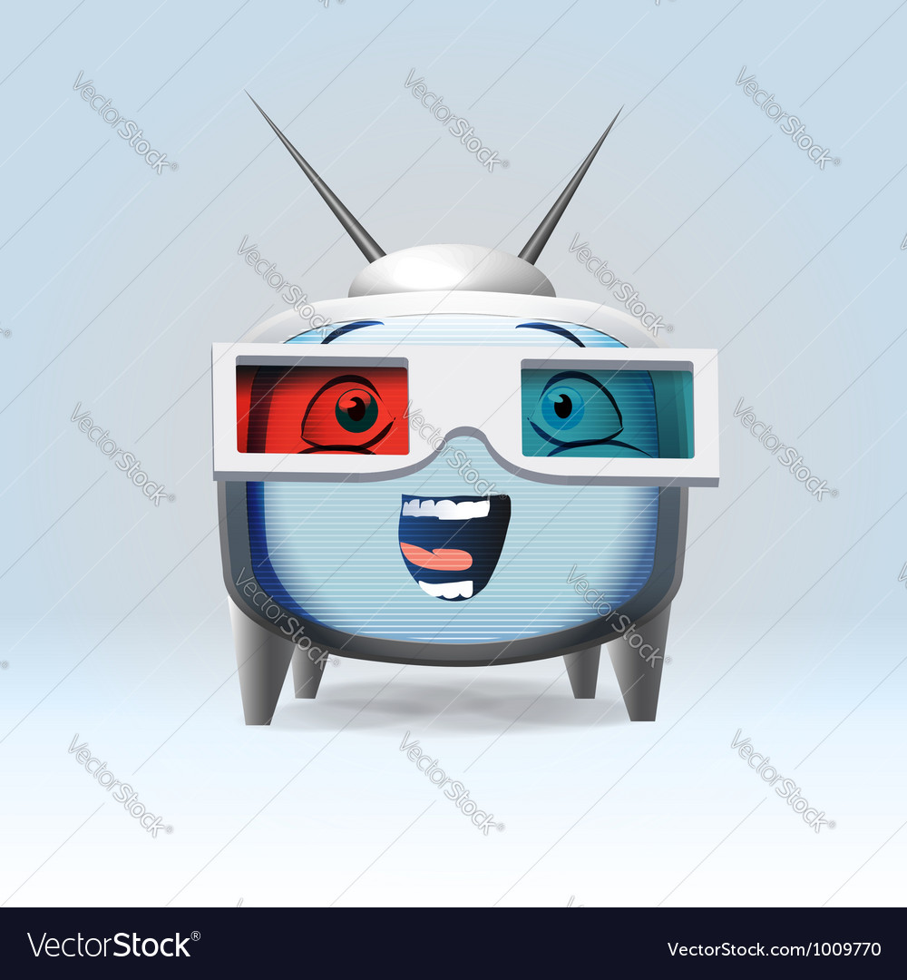 Funny cartoon retro tv character vector | Price: 3 Credit (USD $3)