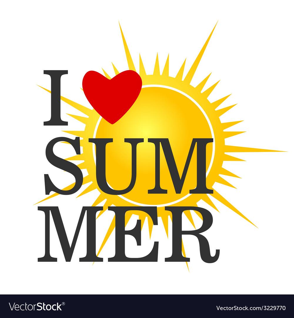 I love summer icon color vector | Price: 1 Credit (USD $1)