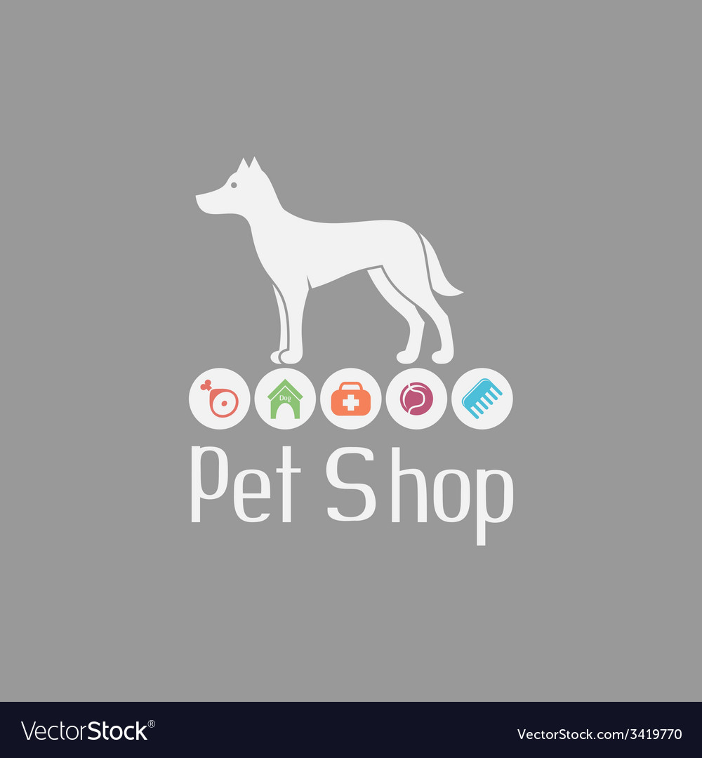 Pet shop logo with doggy sign and what dog needs vector | Price: 1 Credit (USD $1)