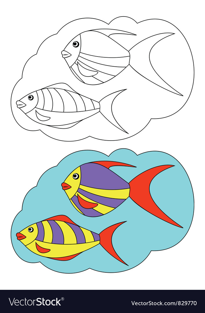 The picture for coloring fish vector | Price: 1 Credit (USD $1)
