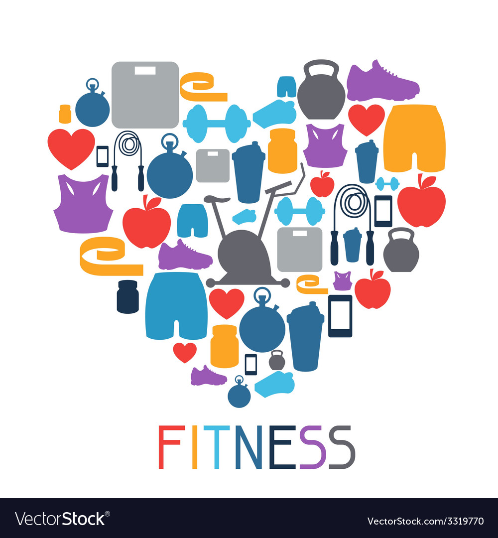 Sports background with fitness icons in flat style vector | Price: 1 Credit (USD $1)