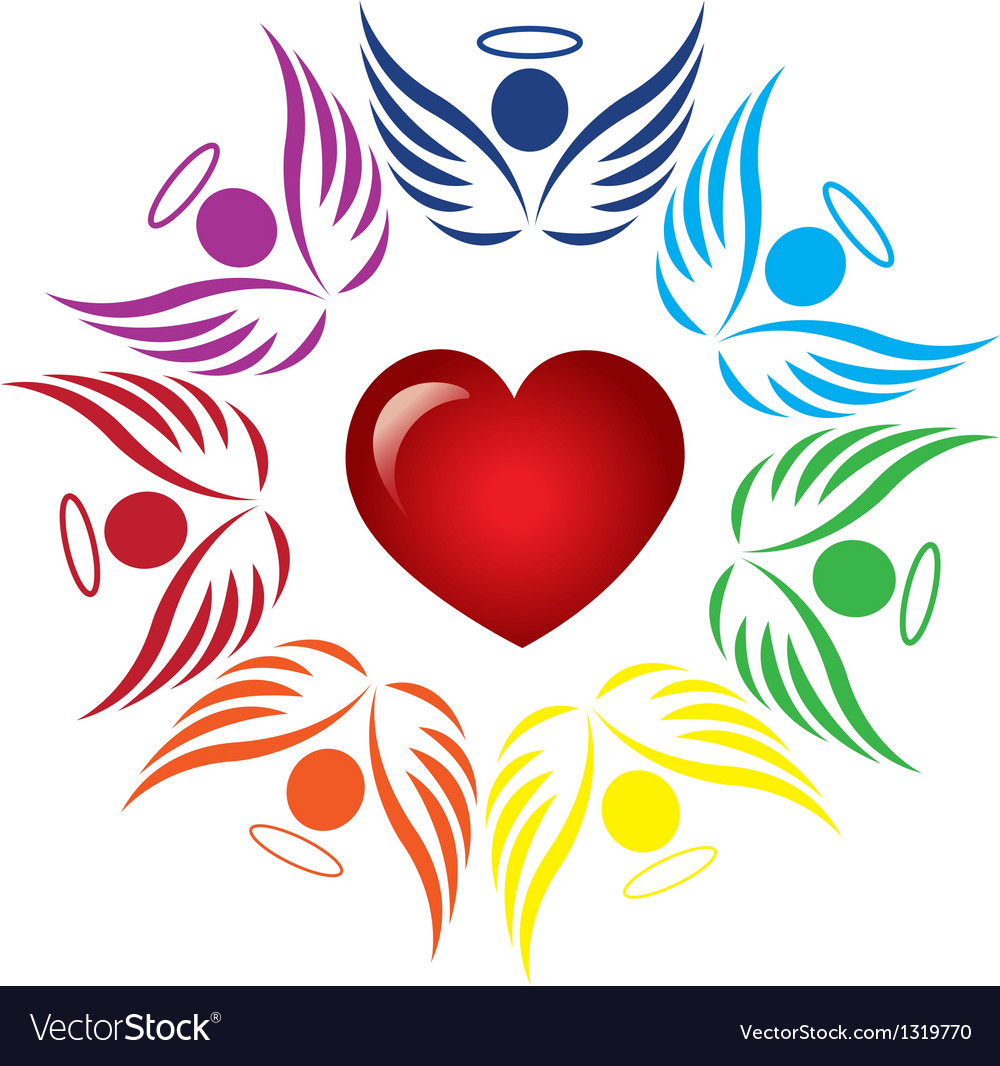 Teamwork angels around heart logo vector | Price: 1 Credit (USD $1)