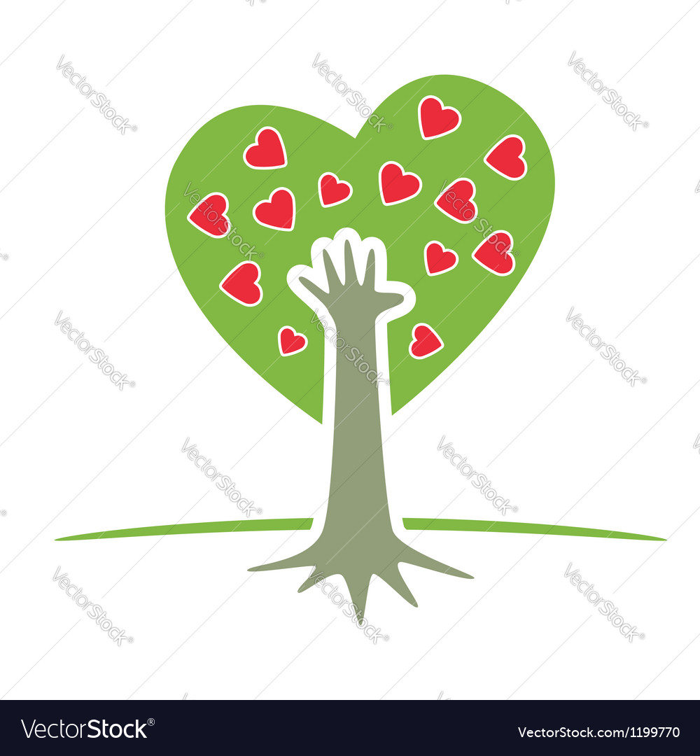 Tree with hand and hearts vector