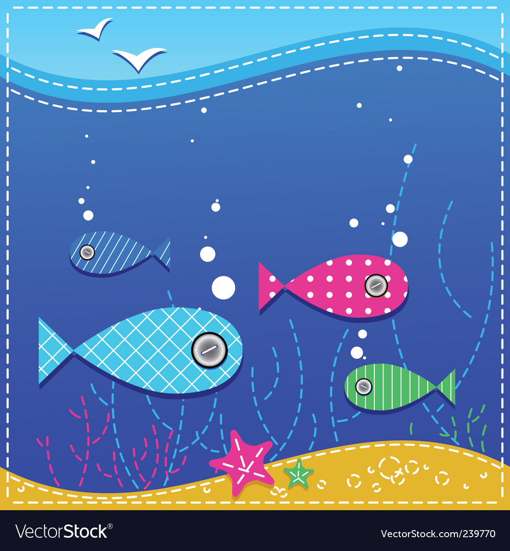 Underwater ocean and fishes vector | Price: 1 Credit (USD $1)