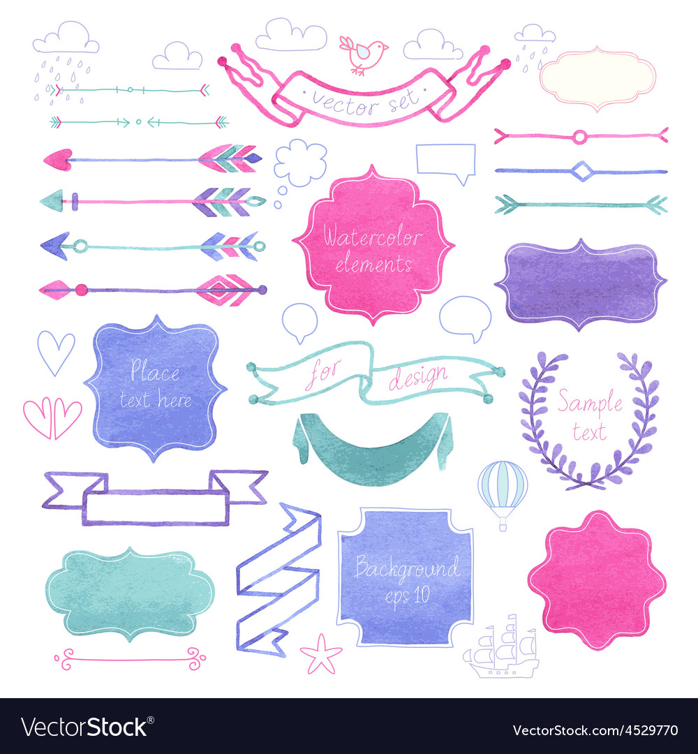 Watercolor elements3 vector