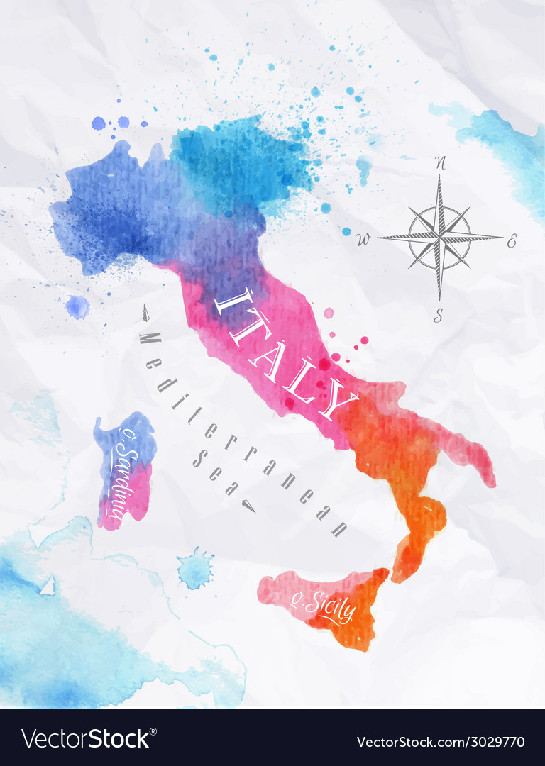 Watercolor map italy pink blue vector | Price: 1 Credit (USD $1)