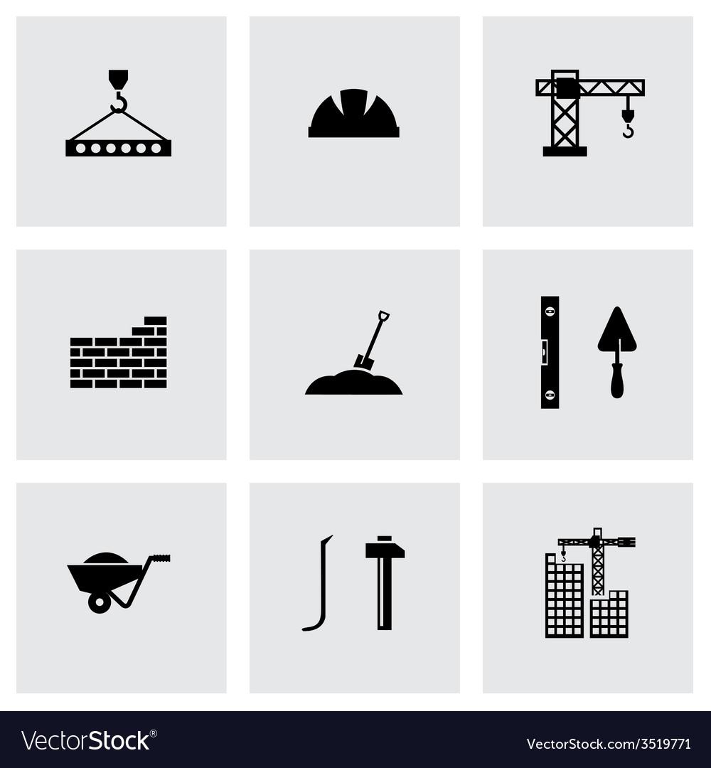 Black construction icon set vector | Price: 1 Credit (USD $1)