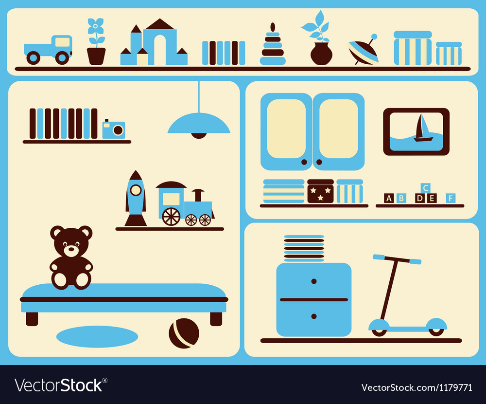 Childrens room interior and objects set vector   Price: 1 Credit (USD $1)