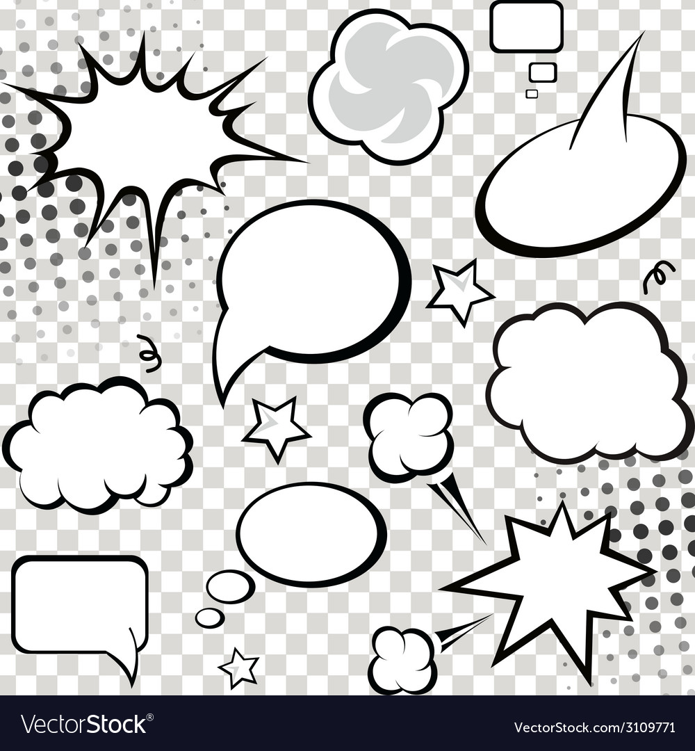 Comic speech bubbles and comic strip on monochrome vector | Price: 1 Credit (USD $1)