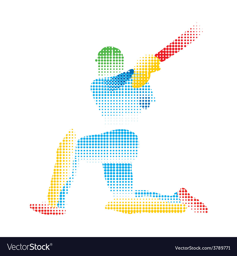 Creative abstract cricket player design by halfton vector | Price: 1 Credit (USD $1)
