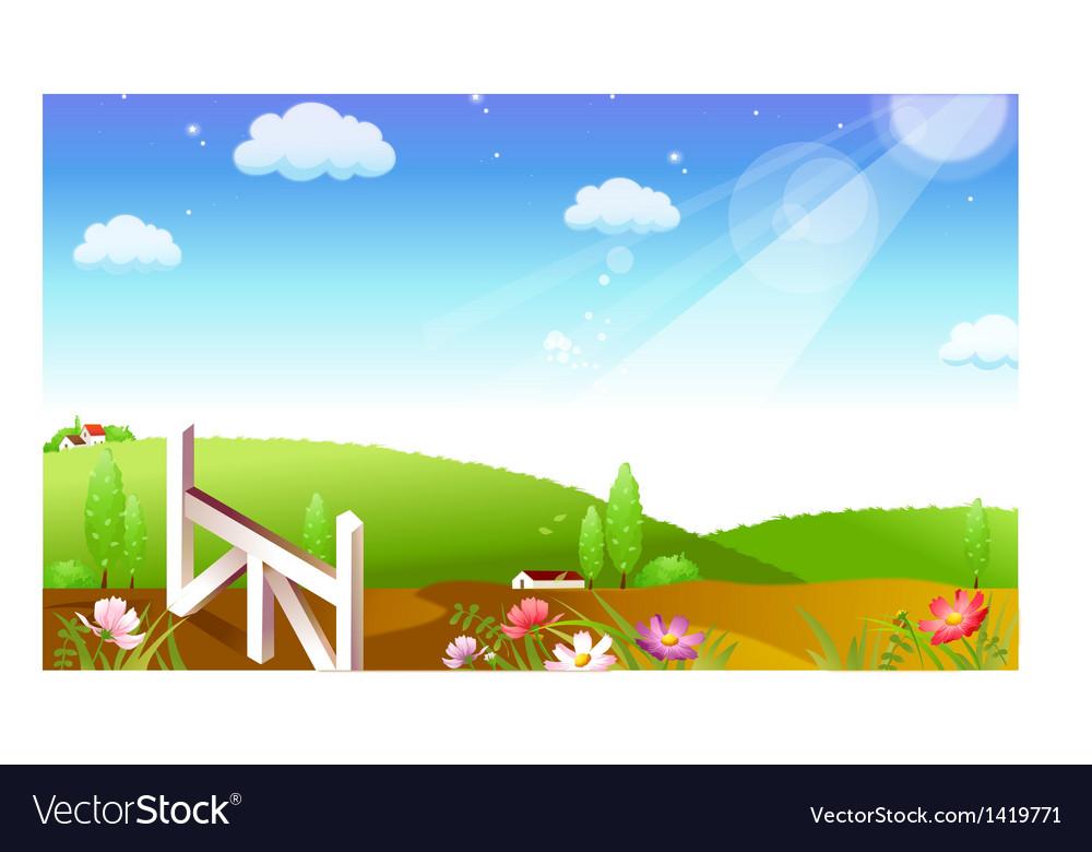 Farmland landscape background vector | Price: 1 Credit (USD $1)