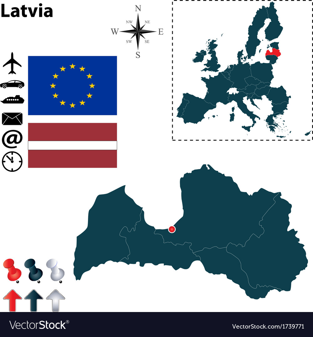 Latvia and european union map vector | Price: 1 Credit (USD $1)