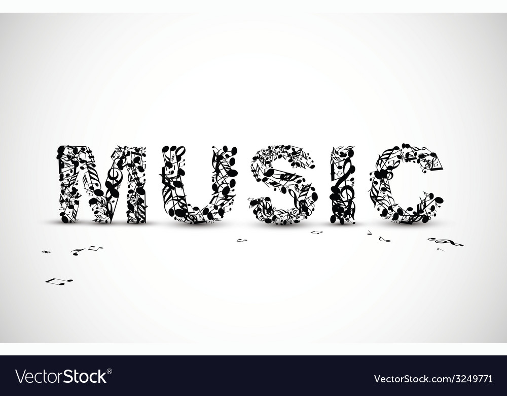 Music lettering made from black notes vector | Price: 1 Credit (USD $1)