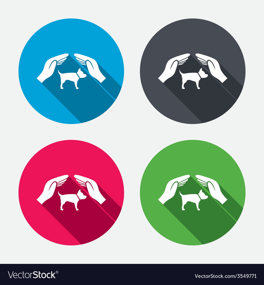 Protection of animals pets sign icon hands vector | Price: 1 Credit (USD $1)