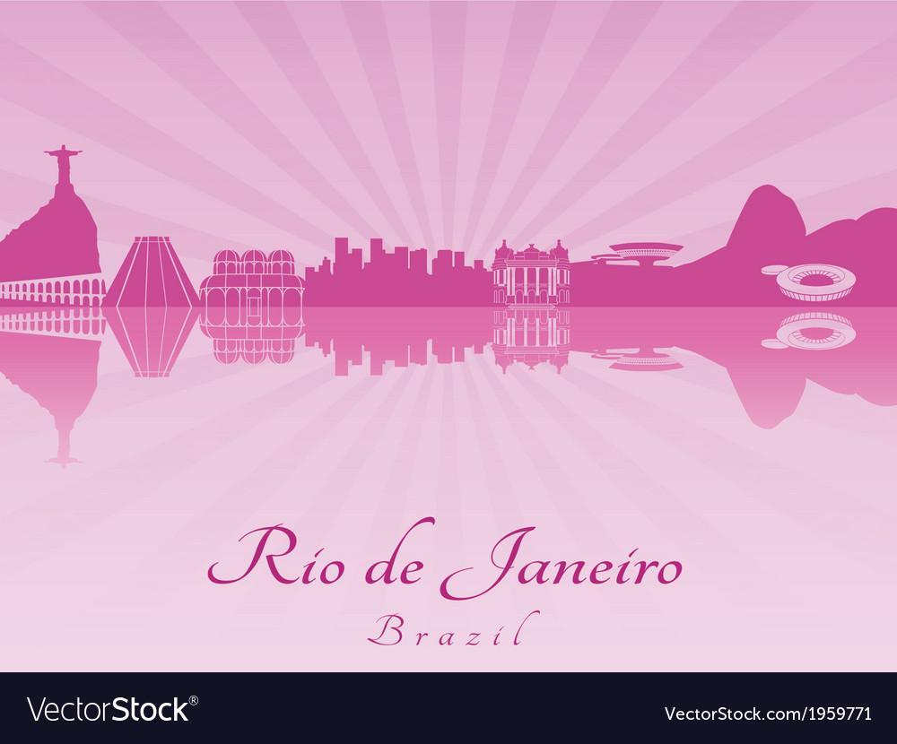 Rio de janeiro skyline in purple radiant orchid vector | Price: 1 Credit (USD $1)