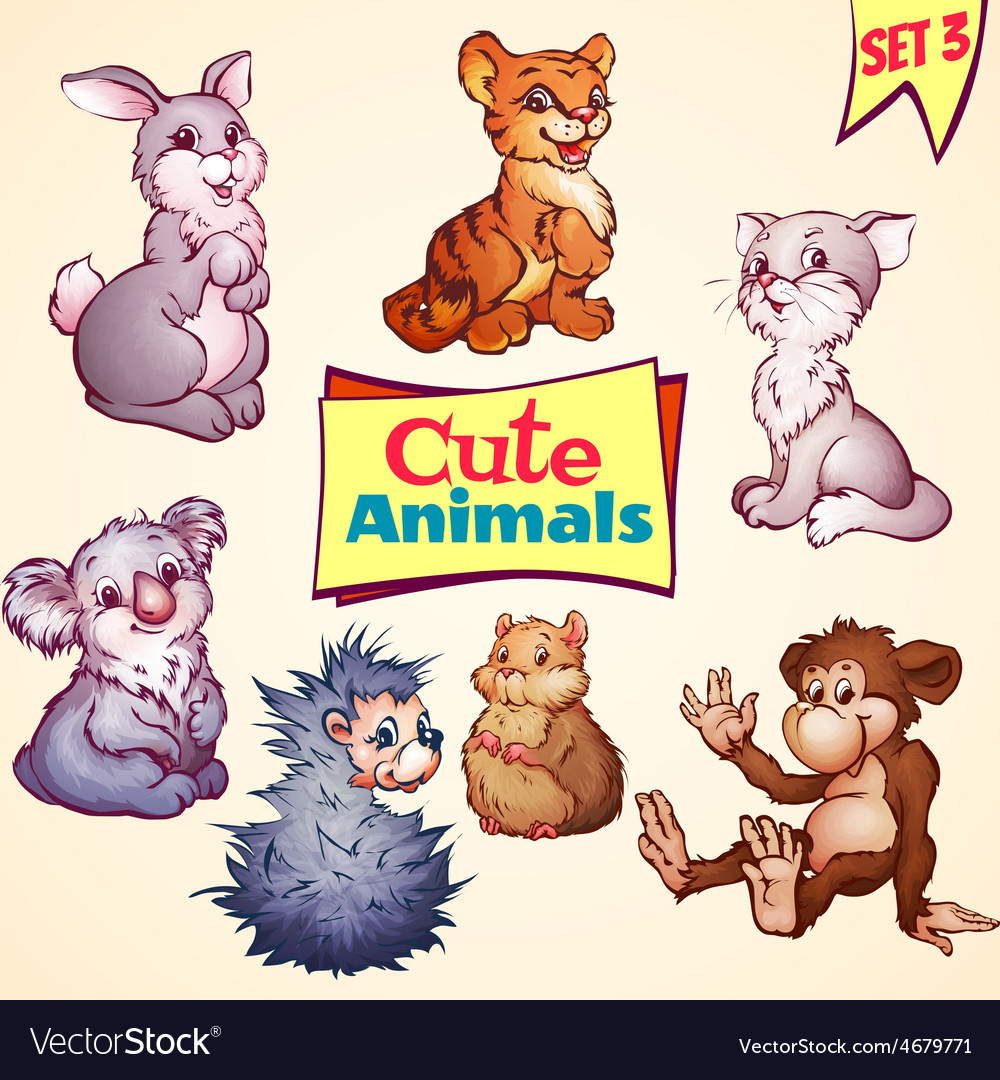 Set of cute animals cat hare koala and vector | Price: 5 Credit (USD $5)