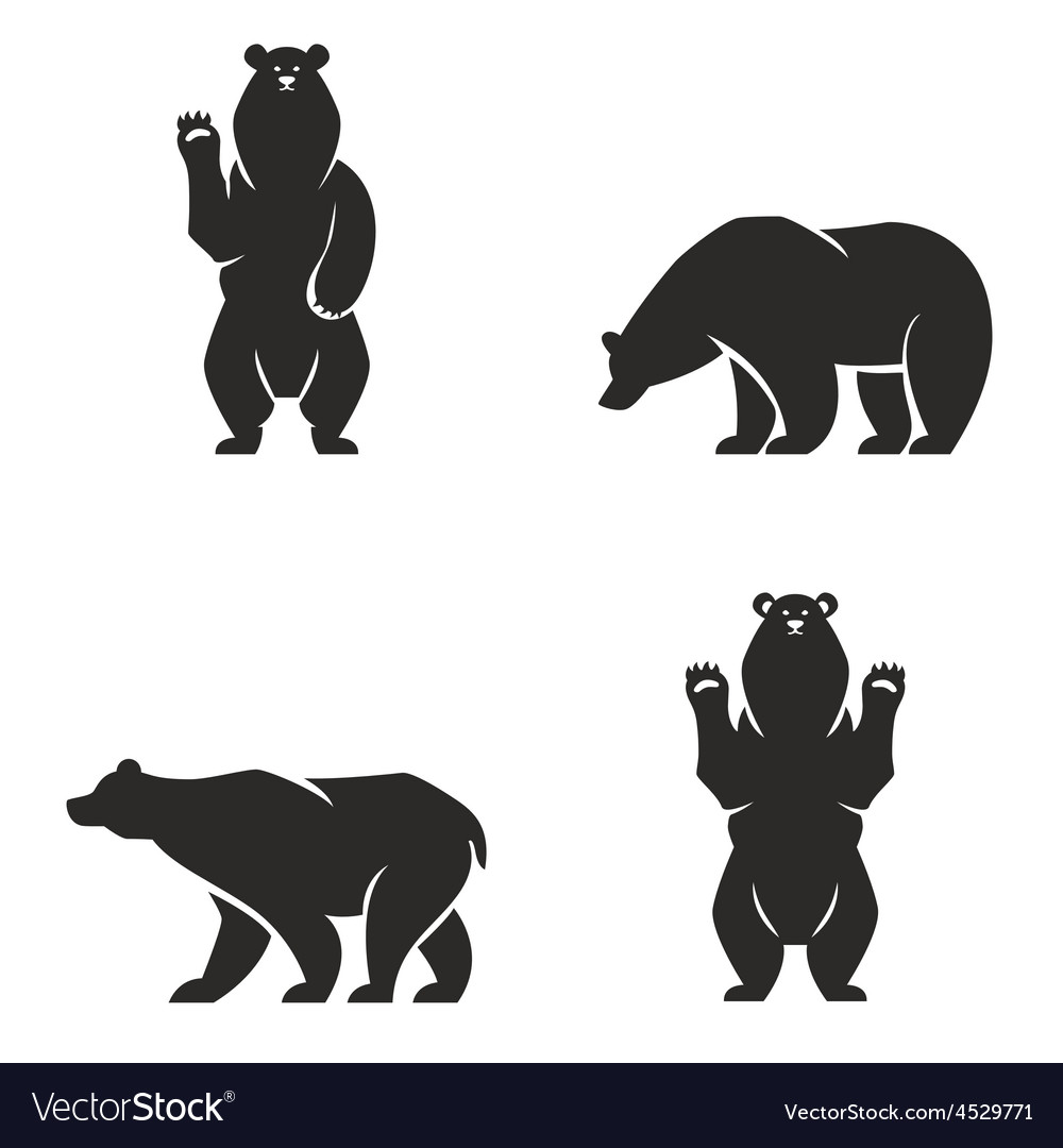Silhouettes of the bears set vector | Price: 1 Credit (USD $1)