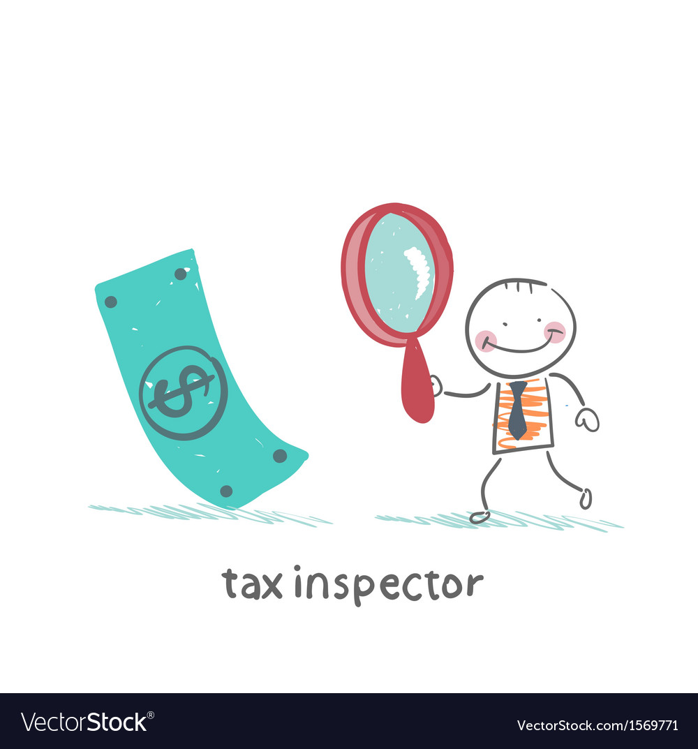 Tax inspector with magnifying glass looking for vector | Price: 1 Credit (USD $1)
