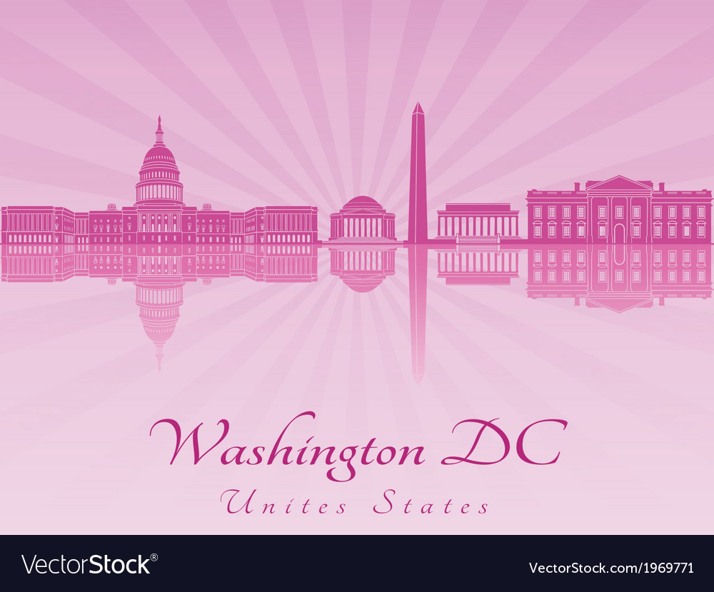 Washington dc skyline in purple radiant orchid vector | Price: 1 Credit (USD $1)