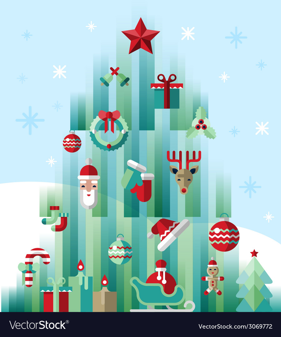 Christmas icons tree vector | Price: 1 Credit (USD $1)
