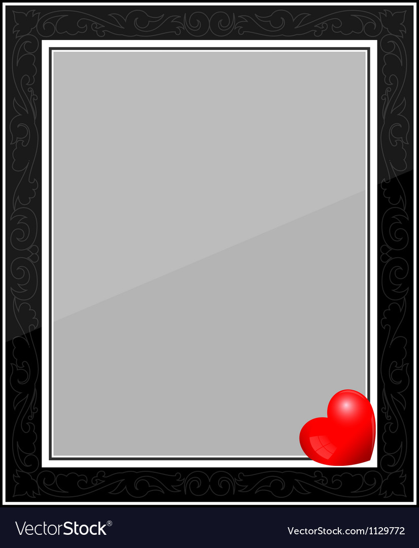 Designer black photo frame with heart vector | Price: 1 Credit (USD $1)