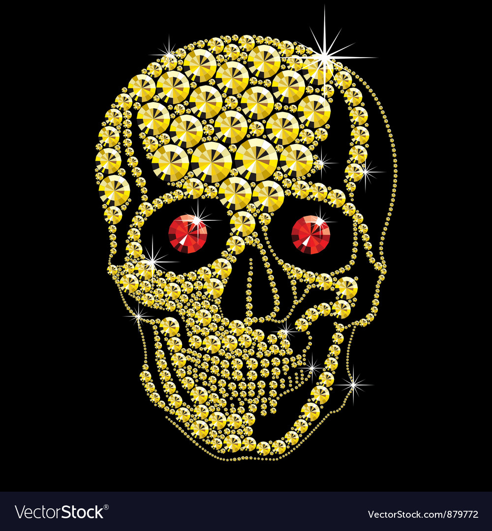 Diamond gold skull with red eyes vector | Price: 1 Credit (USD $1)