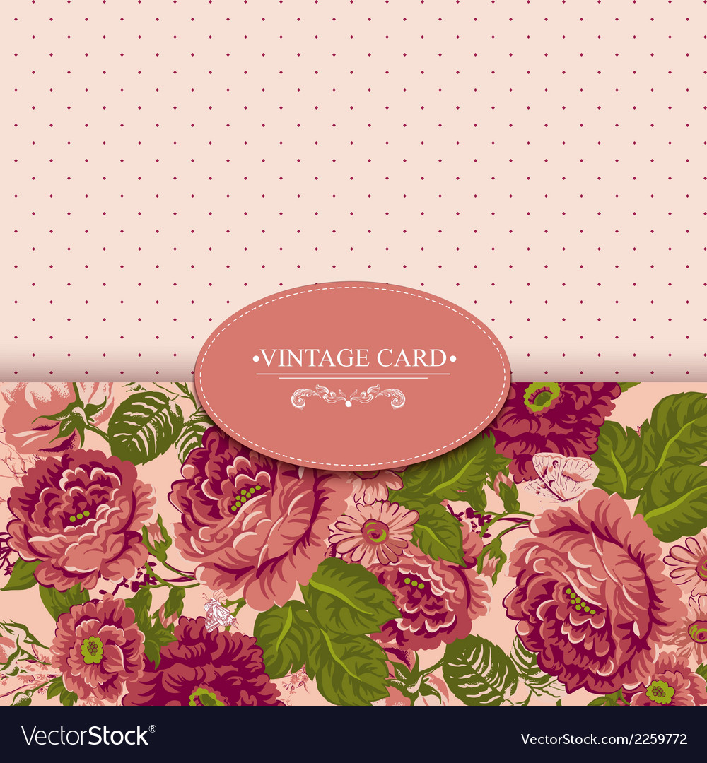 Elegance vintage floral card with roses vector | Price: 1 Credit (USD $1)