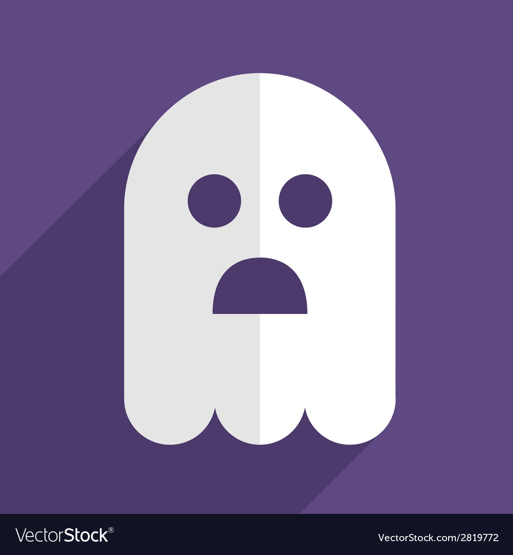 Halloween ghost flat icon badge vector | Price: 1 Credit (USD $1)