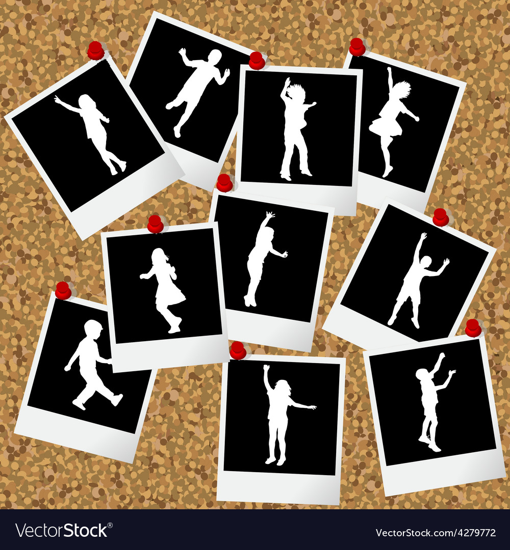 Instant photos with children silhouettes hang on vector | Price: 1 Credit (USD $1)