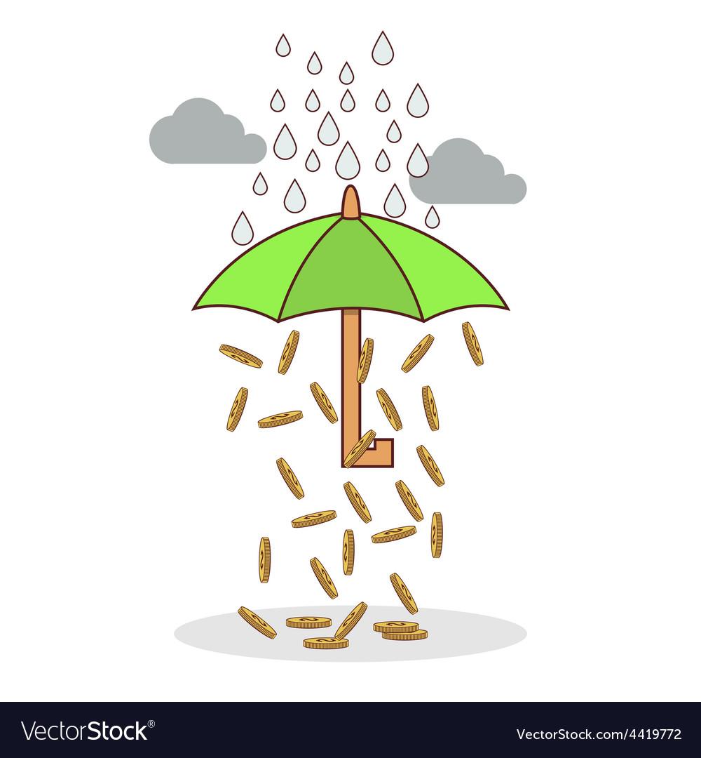 Isolated cartoon investment umbrella vector | Price: 1 Credit (USD $1)
