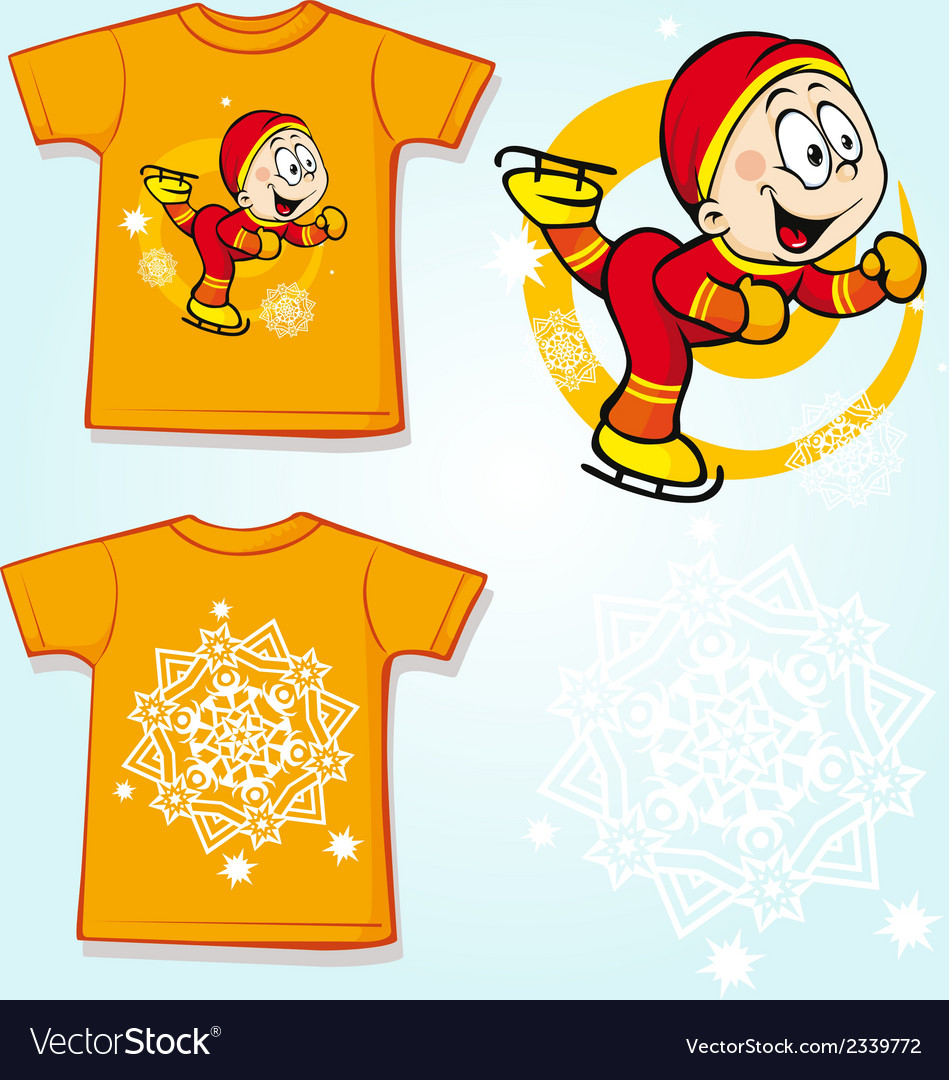 Kid shirt with skater - back and front view vector | Price: 1 Credit (USD $1)
