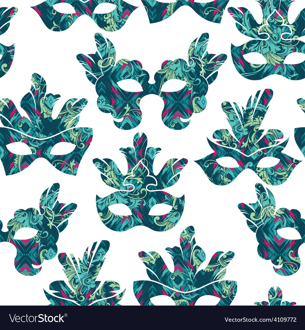 Seamless pattern with carnival mask vector | Price: 1 Credit (USD $1)