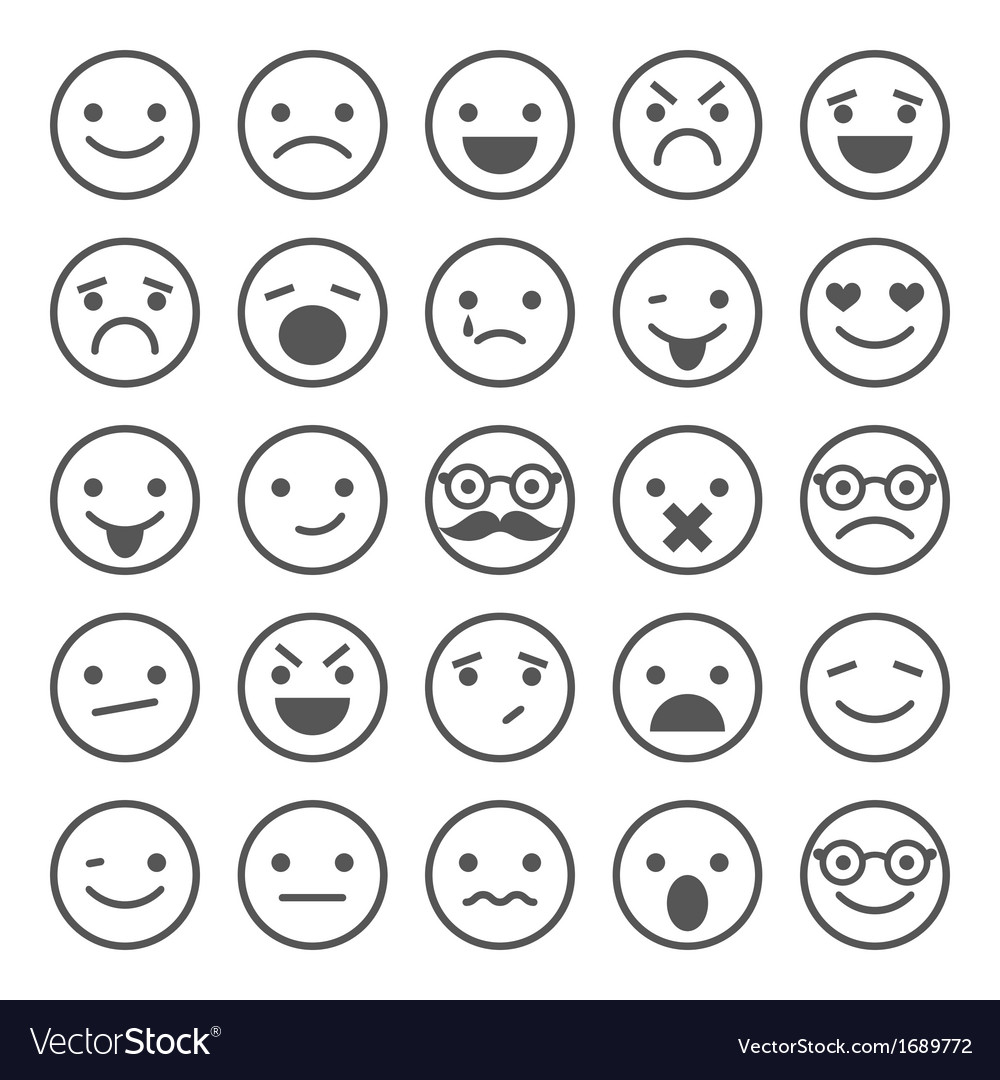 Set of smiley icons with different emotions vector | Price: 1 Credit (USD $1)