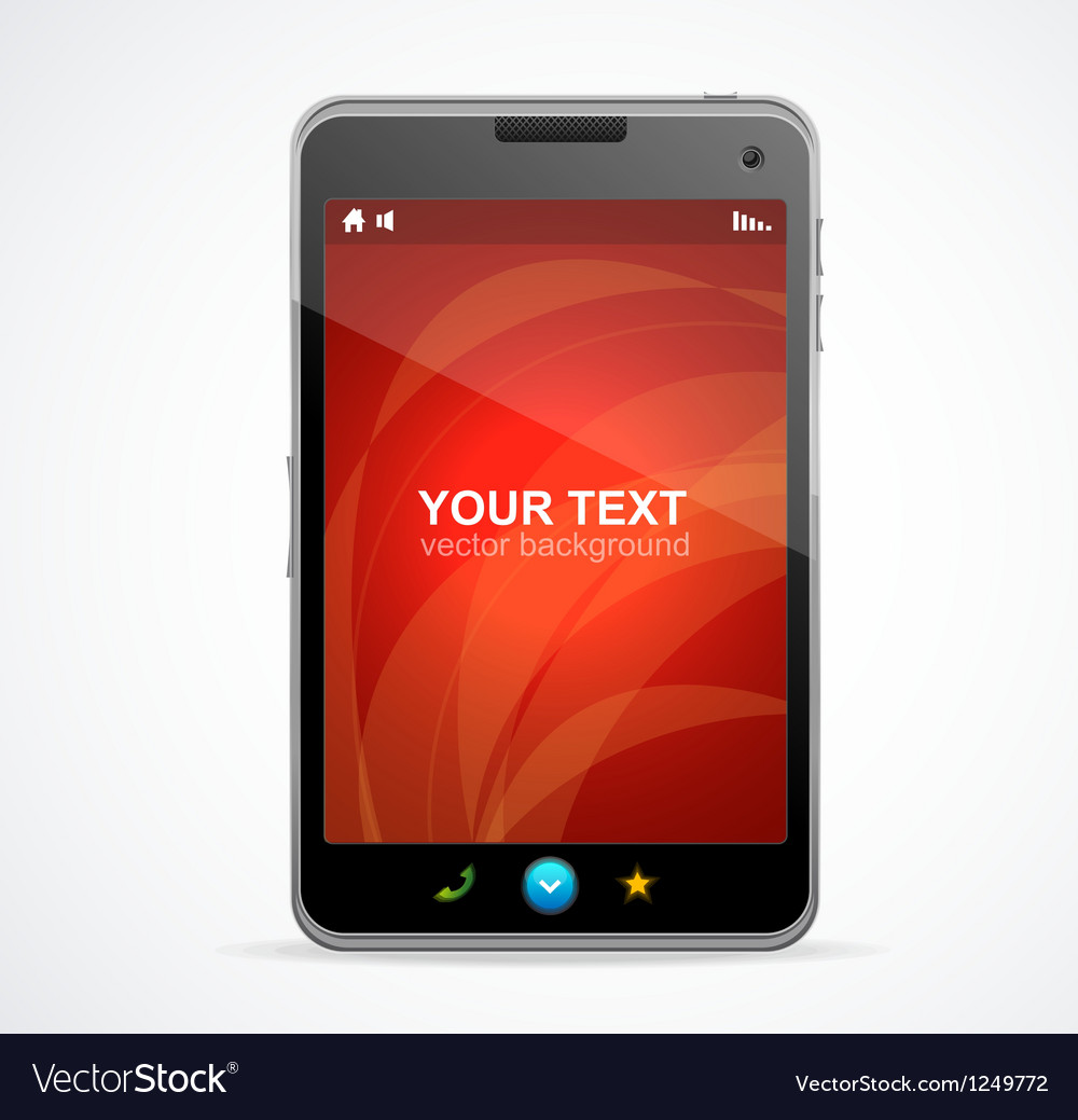 Smart phone with red screen and text vector | Price: 3 Credit (USD $3)