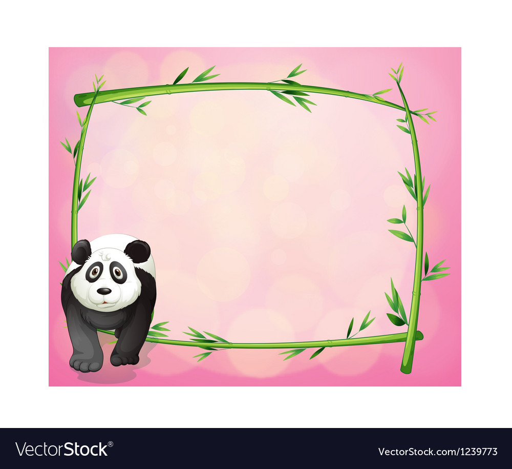 A panda beside a bamboo frame vector | Price: 1 Credit (USD $1)