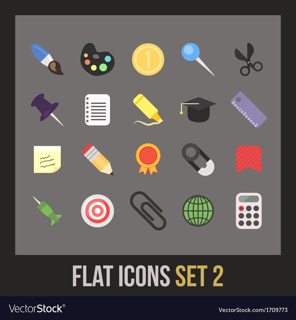 Flat icons set 2 vector | Price: 1 Credit (USD $1)