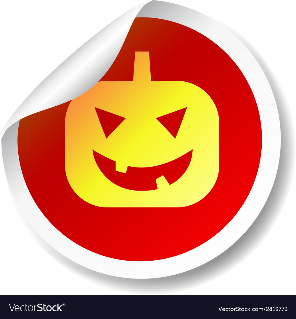 Halloween pumpkin flat icon sticker vector | Price: 1 Credit (USD $1)