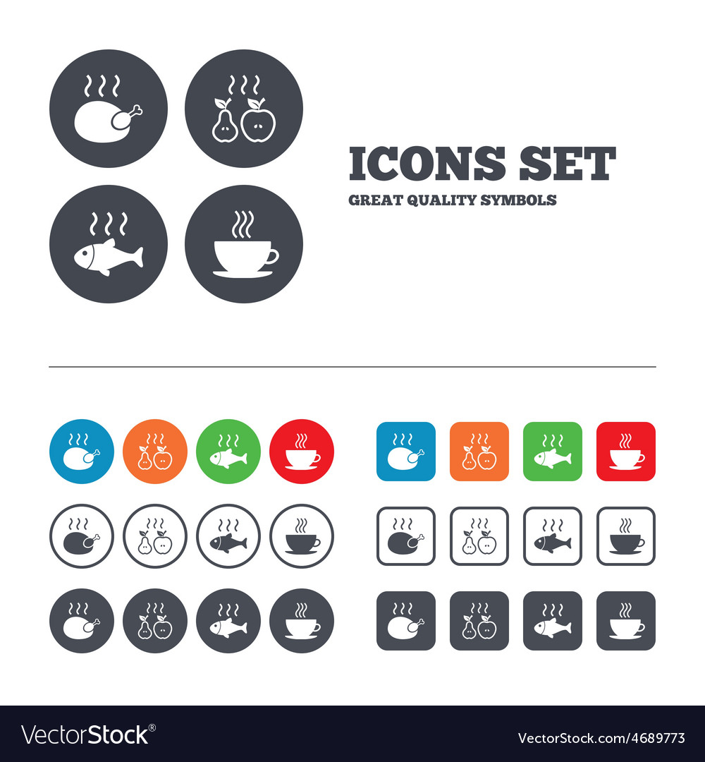 Hot food icons grill chicken and fish symbols vector | Price: 1 Credit (USD $1)