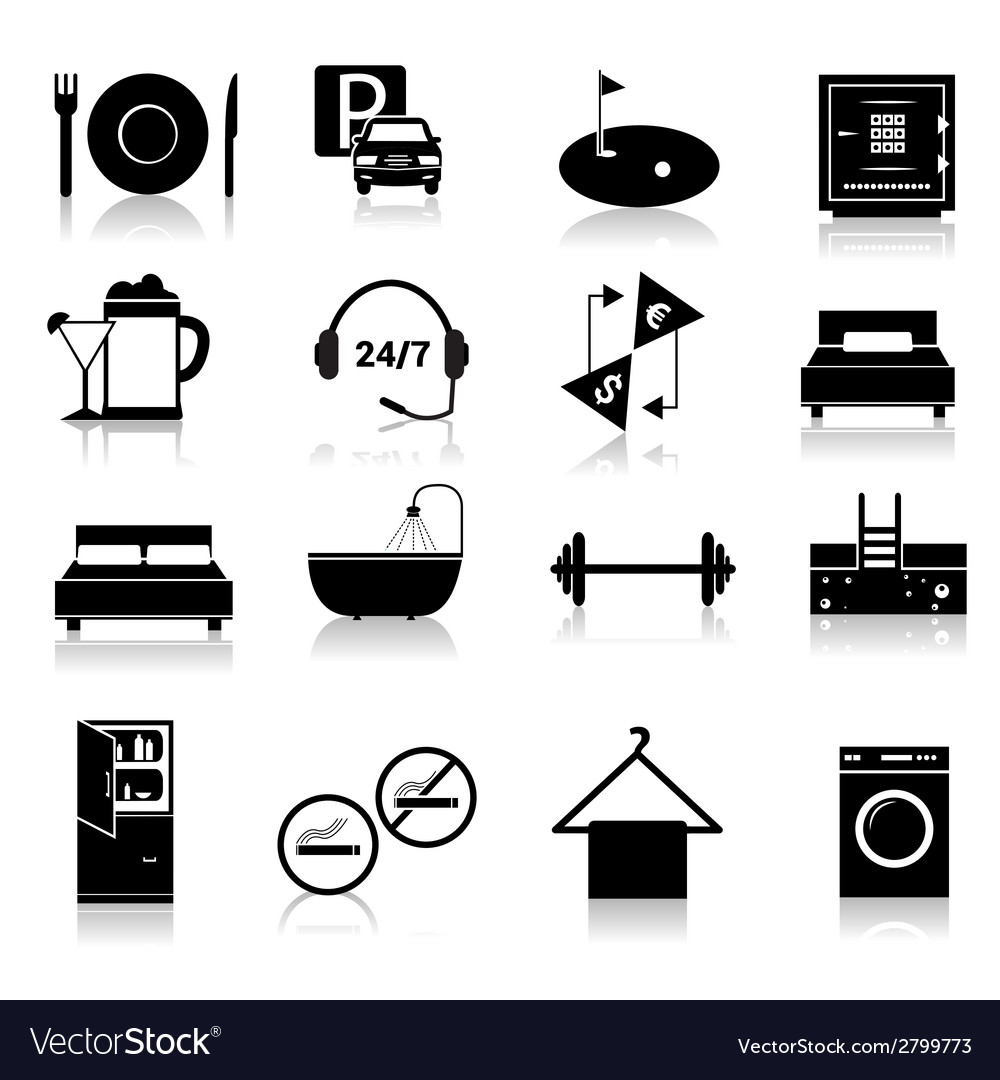 Hotel icons set black vector | Price: 1 Credit (USD $1)