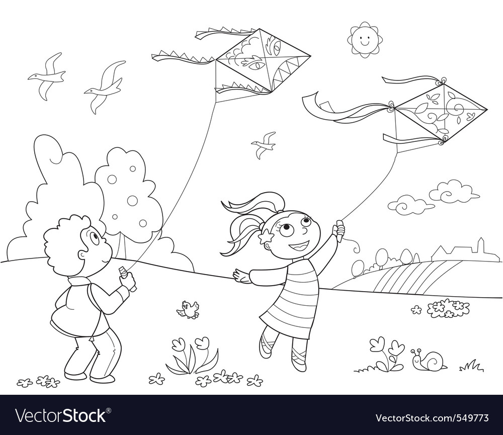 Kids playing with kites vector | Price: 1 Credit (USD $1)