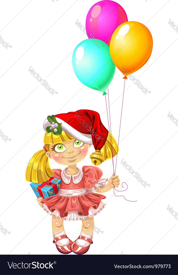 Little fairy in red dress with balloons in red vector | Price: 3 Credit (USD $3)