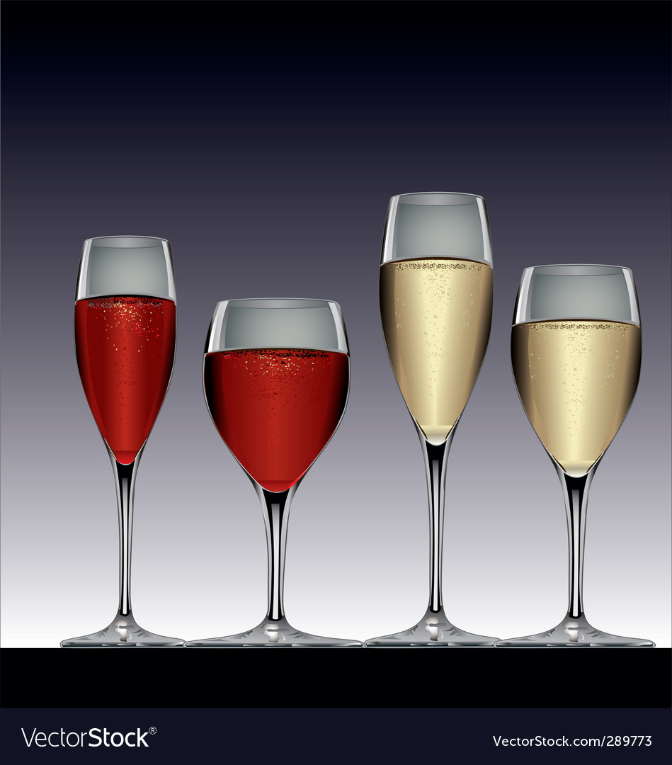 Wine glasses red and white vector | Price: 1 Credit (USD $1)