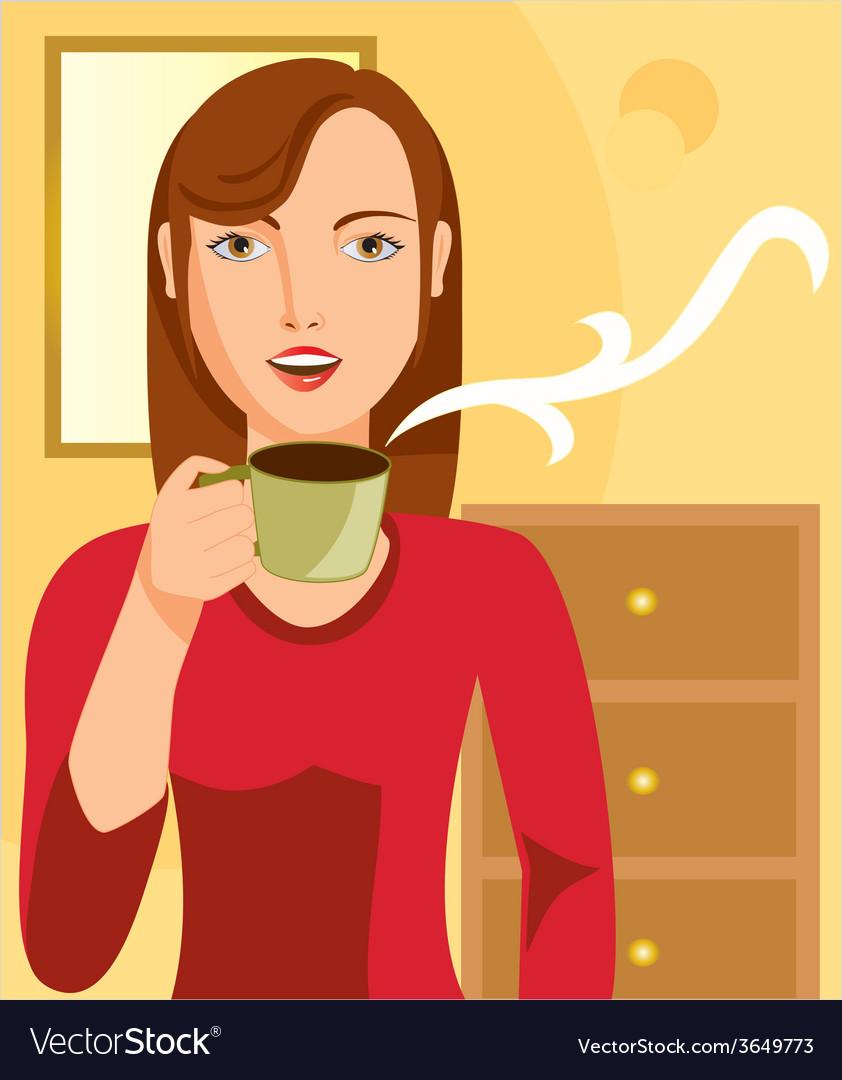 Womandrinkingcoffee vector