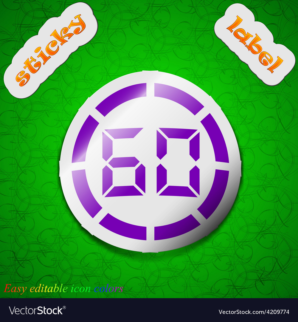 60 second stopwatch icon sign symbol chic colored vector | Price: 1 Credit (USD $1)