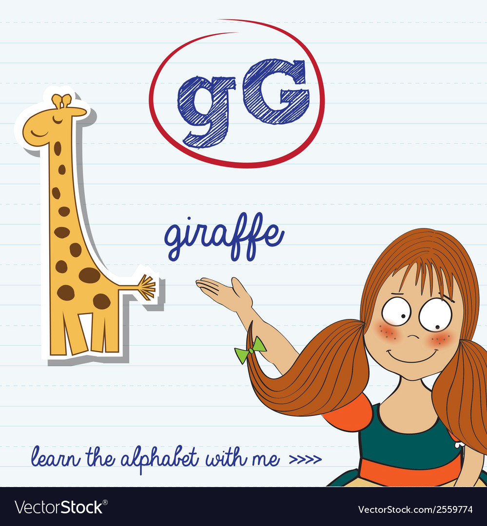 Alphabet worksheet of the letter g vector | Price: 1 Credit (USD $1)