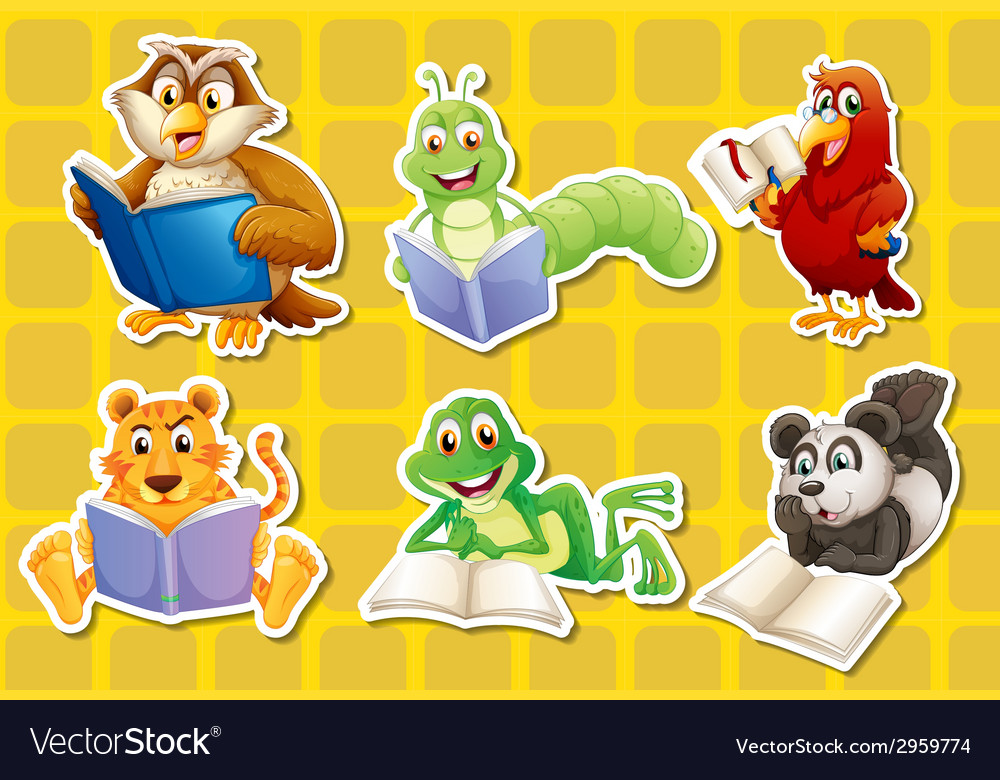 Animals and book vector | Price: 1 Credit (USD $1)